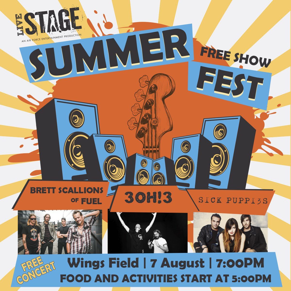 Live Concert, Summer Fest, Fuel, 3OH!3, Sick Puppies, Edwards Air Force Base